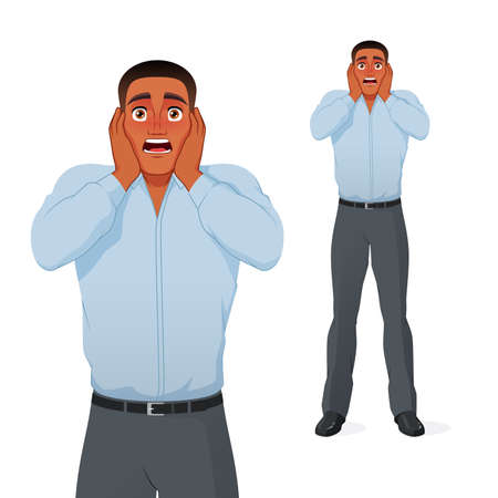 Terrified black businessman holding his head in panic. Cartoon vector character. Иллюстрация