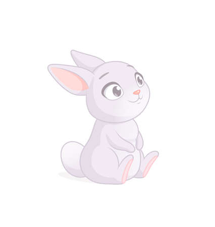 Cute sitting bunny cartoon character. Vector illustration on white background.