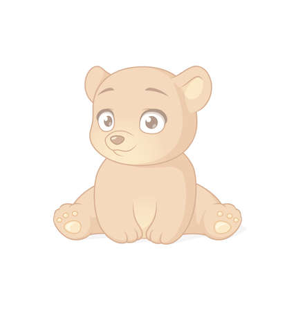 Cute sitting baby bear cartoon character. Vector illustration on white background.