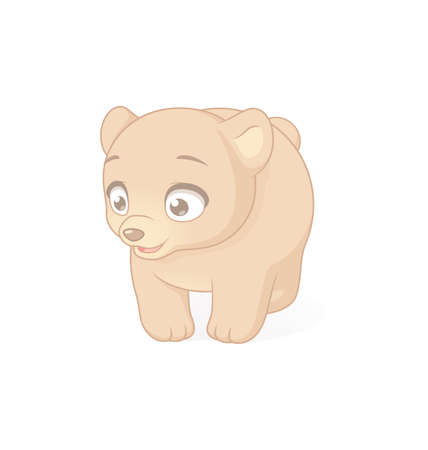 Cute baby bear cartoon character. Vector illustration on white background.