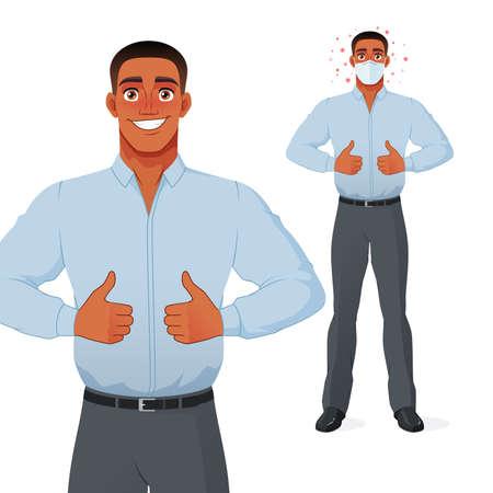 Black man showing thumbs up. Vector cartoon character.