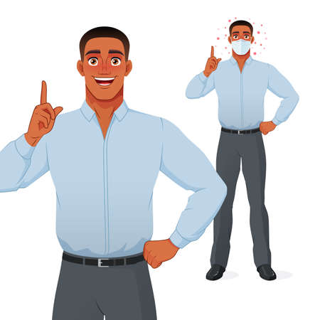 Black man pointing finger up to give advice. Protection from COVID-19. Vector illustration.