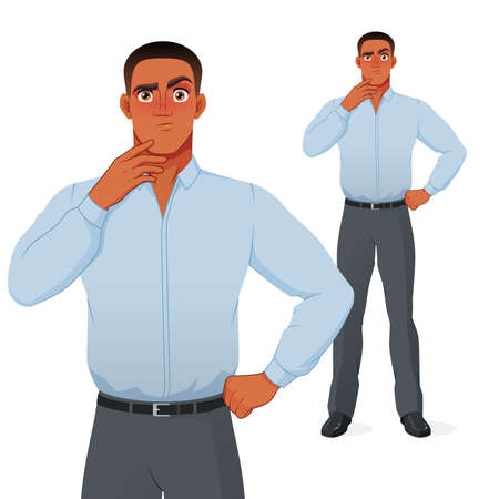 Puzzled black businessman thinking with hand on chin. Vector cartoon character.