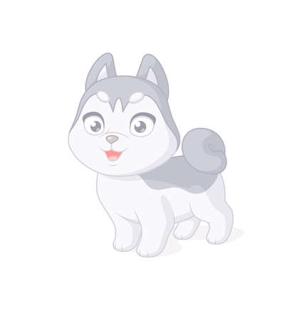 Cute husky puppy cartoon character. Vector illustration on white background.