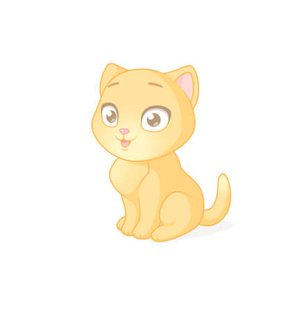 Cute ginger kitten sitting on white