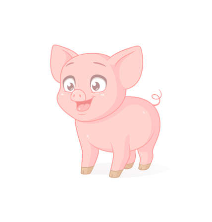 Cute pink baby pig. Vector illustration on white background.