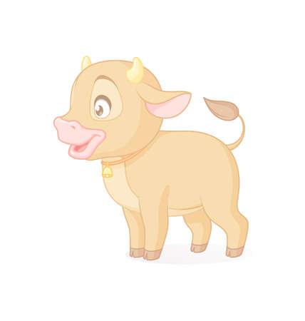Cute baby bull standing. Vector illustration on white background. Иллюстрация