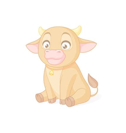 Cute baby calf sitting. Vector illustration on white background. Иллюстрация