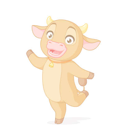 Happy cute cow standing on one leg. Vector cartoon character on white background. Иллюстрация
