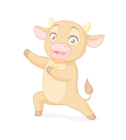 Happy cute baby bull presenting. Vector cartoon character on white background.