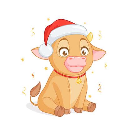 Cute baby bull in Santas hat sitting. Cartoon vector on white background.