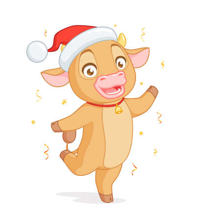 Cute baby ox in Santas hat standing on one leg. Vector cartoon character on white background.