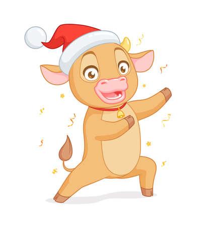Cute baby ox in Santas hat presenting. Vector cartoon character on white background. Иллюстрация