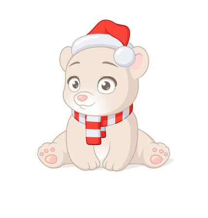 Cute polar baby bear in Christmas Santa Claus hat. Vector cartoon illustration.