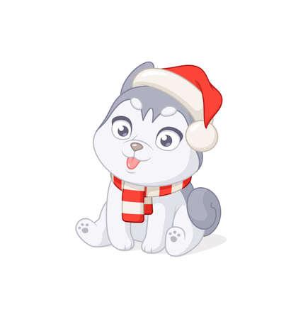 Cute husky puppy in Christmas Santa Claus hat. Cartoon vector illustration on white background. Иллюстрация