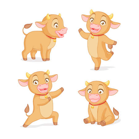 Cute baby ox in various poses. Set of cartoon vector illustrations on white background. Иллюстрация