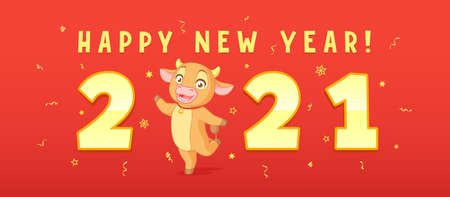 Cute cartoon ox greeting with 2021 new year. Vector horizontal banner on red background. Иллюстрация