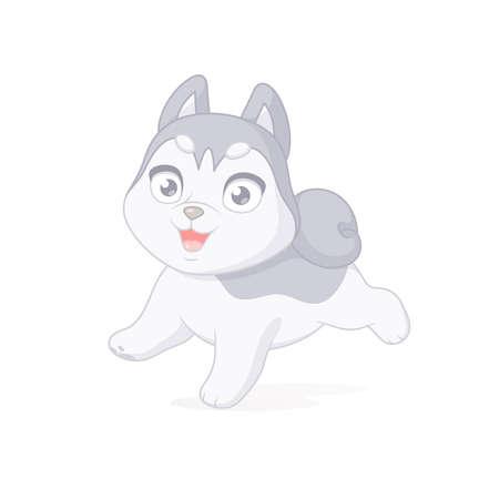 Happy husky puppy running. Cartoon vector illustration on white background. Иллюстрация