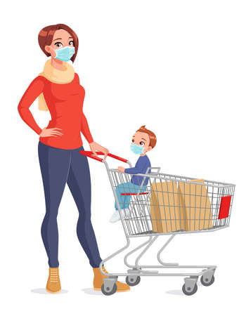 Mother and child in face masks with shopping cart. Isolated vector illustration. Illusztráció