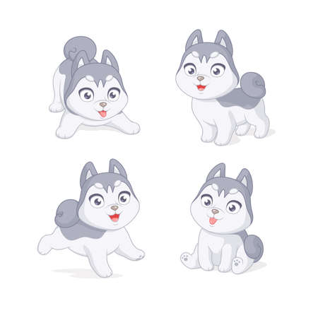 Cute playful husky puppy. Set of cartoon vector illustrations on white background. Иллюстрация