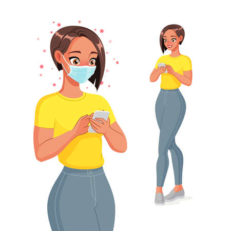 Woman in face mask texting on smartphone. Isolated vector illustration.