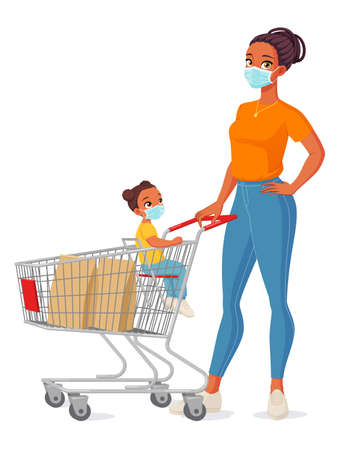 Mother and child in face masks with shopping cart. Isolated vector illustration. Иллюстрация