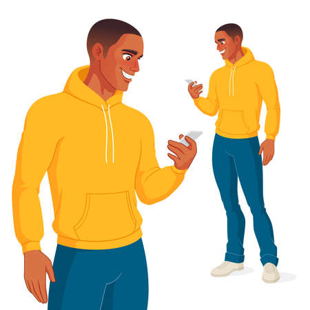 Black man checking his phone. Isolated vector illustration.