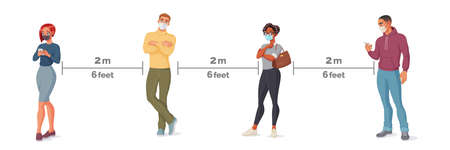 People in face masks standing in line. Social distance vector illustration.