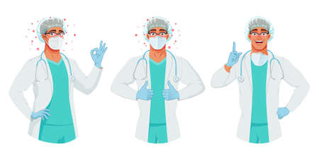 Doctor in mask, hat and gloves shows OK, thumbs up, finger points up. Protection from coronavirus. Vector set.