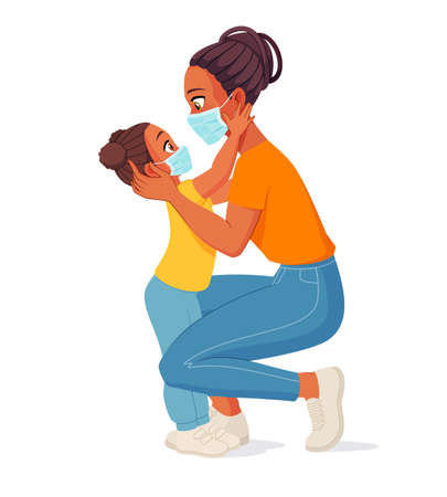 Mother and daughter in face masks. Isolated vector illustration.