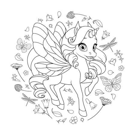Cute fairy unicorn with wings surrounded with flowers and butterflies. Vector coloring page. Иллюстрация