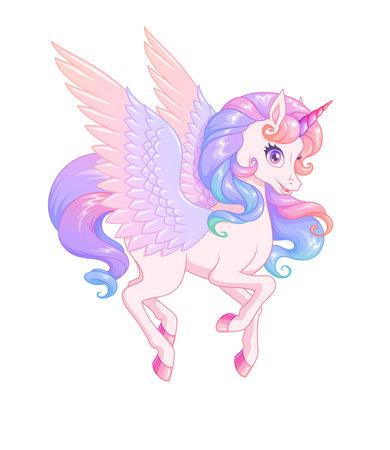Beautiful flying winged pink unicorn. Vector illustration.