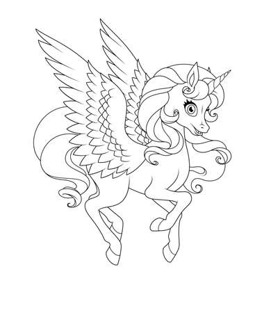 Beautiful flying winged unicorn. Vector coloring page.