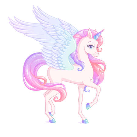 Beautiful winged unicorn with pink mane. Vector illustration.