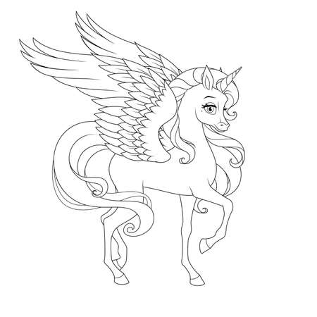 Beautiful unicorn with wings. Vector coloring page.