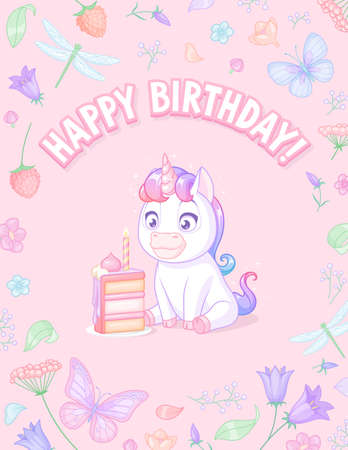White unicorn with cake. Vector birthday greeting card with slogan on pink background. Иллюстрация