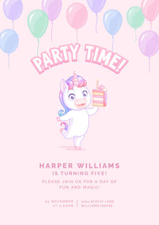 Dancing unicorn with cake. Vector birthday party invitation on pink background.