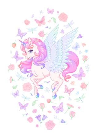 Cute flying pink unicorn with wings surrounded with flowers and butterflies. Vector illustration. Иллюстрация
