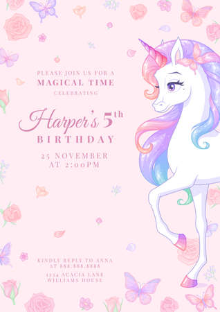 Birthday party invitation with unicorn, butterflies and flowers. Vector illustration on pink background.
