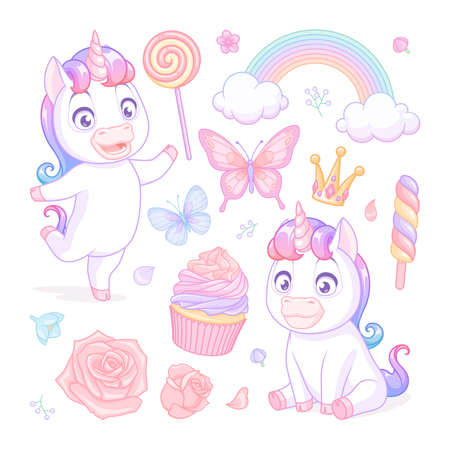 Cute baby unicorns with sweets, flowers and butterflies. Vector illustrations set on white background.
