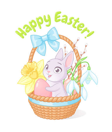 Cute bunny holding egg in basket with spring flowers. Easter greeting cartoon vector illustration on white background.