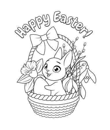 Cute little bunny holding egg in basket with spring flowers. Easter greeting cartoon vector coloring page. Иллюстрация