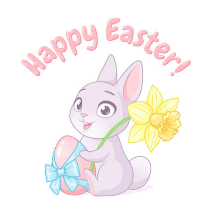 Cute bunny holding egg and daffodil. Happy Easter greeting with cartoon vector illustration on white background.