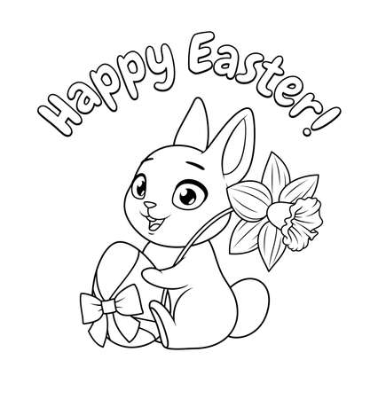 Cute bunny holding egg and daffodil. Happy Easter greeting cartoon vector coloring page.