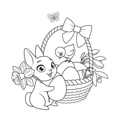 Easter bunny and chick with basket full of eggs and flowers. Vector black and white illustration for coloring book page.