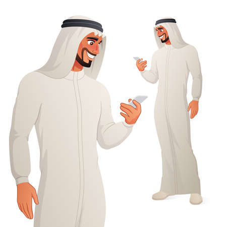 Arab man checking his phone. Isolated vector illustration.