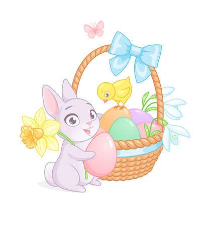 Cute Easter bunny and chick with basket full of eggs and flowers. Cartoon vector illustration on white background. Иллюстрация