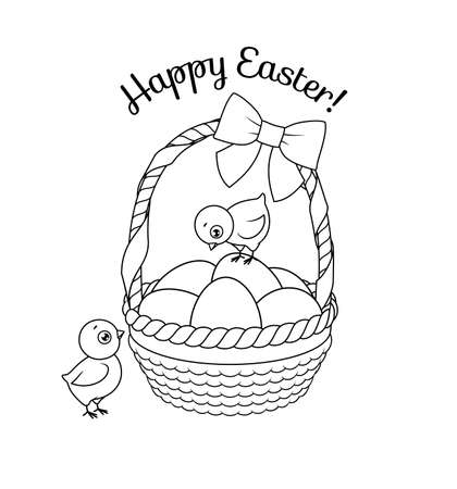Cute chicks with basket full of Easter eggs. Vector black and white illustration for coloring book page.
