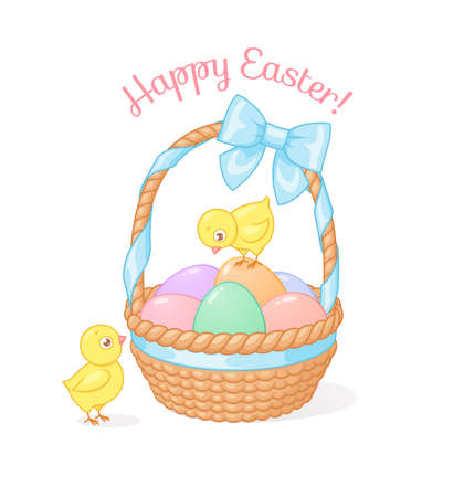 Cute chicks with basket full of Easter eggs. Cartoon vector illustration on white background.