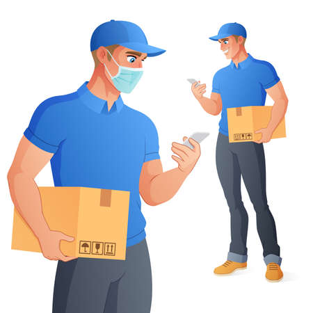 Courier delivery service man in face mask holding box checking his phone. Vector illustration.